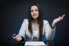Business partner. A business woman at a meeting table Royalty Free Stock Photography