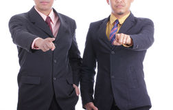 Business Partner accusation concept. Business partner accusation by finger pointing each other Stock Images