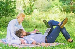 Business partner concept. Balance freelance and family life. Man and girl work laptop. Build business with your spouse. Couple in love or family work online royalty free stock images