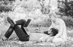 Business partner concept. Balance freelance and family life. Man and girl work laptop. Build business with your spouse. Couple in love or family work online royalty free stock image