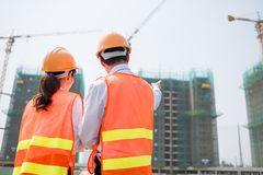 Business partner at the construction site Royalty Free Stock Image