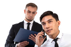 Business partner consulting by phone Royalty Free Stock Photos