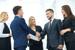 Business partner greeting each other with handshake Stock Image