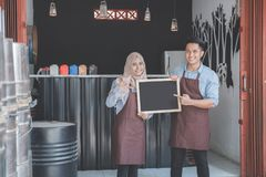 Business partner open their coffe shop Stock Photo