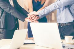 Business partner people joining hand after contract finished meeting. Stock Photos