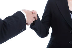 Business partner shake hand for successful business. With white background Stock Photos