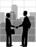 Business partners. In the office tower vector illustration