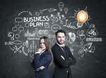 Business partners and business idea, light bulb Stock Image