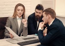 Business partners, businessmen at meeting, office background. Business negotiations concept. Business negotiations. Discuss conditions of deal, contract. Woman Stock Image