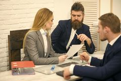 Business partners, businessmen at meeting, office background. Business negotiations, discuss conditions of deal. Contract. Business negotiations concept. Woman Stock Photography