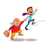 Business partners climbing the career ladder. Team work. Vector illustration Royalty Free Stock Photos