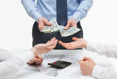 Business partners demanding money from boss. White background Stock Photography