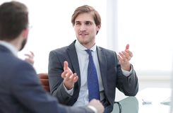 Business partners discuss business issues. Consulting concept stock image