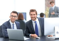 Business partners discuss prospects of the agreement stock images
