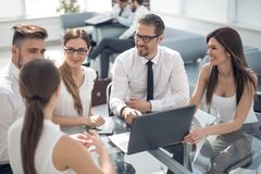 Business partners discussing contract terms. Meetings and partnerships stock photo