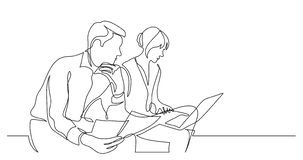 Business partners discussing details of work contract - one line drawing stock illustration