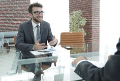Business partners are discussing a financial chart Royalty Free Stock Image