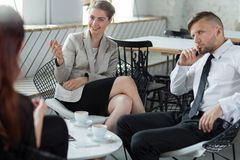 Business partners discussing firm strategy Royalty Free Stock Photos