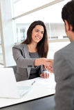 Business partners exchanging contacts Royalty Free Stock Image