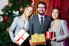Business partners with gifts Royalty Free Stock Photo