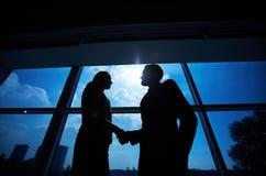 Business partners handshaking Stock Photo