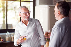 Business partners having party at the kitchen royalty free stock photo