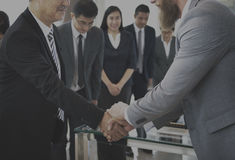 Business Partners Introduction Handshake Bow Concept Stock Image