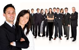 Business partners leading huge business team Stock Photography