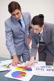 Business partners looking at statistics together Royalty Free Stock Images