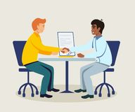 Business partners making agreement illustration royalty free illustration