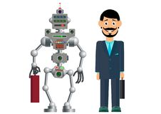Business partners, man and robot. The development of civilization. Vector illustration royalty free illustration