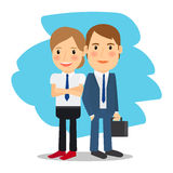 Business partners man and woman. Business partners. Business man and business woman standing together. Vector illustration Stock Photos