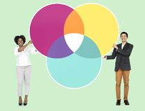 Business partners with a marketing strategy stock image