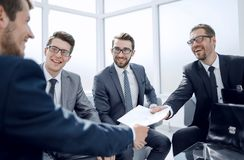 Business partners at a business meeting in the office royalty free stock image