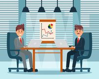Business partners planning work and strategies, productive partnership, modern office interior vector Illustration. Cartoon style Stock Photo