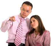 Business partners pointing at Royalty Free Stock Photo