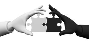 Business partners putting puzzle together. 3d Business partners building a puzzle. On a white background, black and white hand are kept puzzle Stock Photos