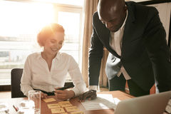 Business partners selecting right candidate for their new projec Stock Photography