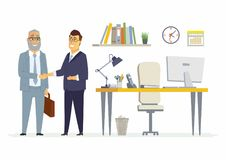 Business partners shake hands - modern cartoon people characters illustration Royalty Free Stock Image