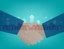 Business partners shaking hands. Concept business illustration. Vector flat. Mixed media Stock Images