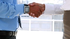 Business partners shaking hands by large window. In the office stock footage