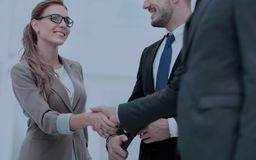 Business woman shaking hand to  her  partner Royalty Free Stock Photo