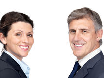 Business partners smiling isolated against white Royalty Free Stock Photography