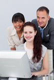Business partners working together at a computer Royalty Free Stock Images