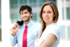 Business partners. Young smiling business partners outdoor Stock Photography