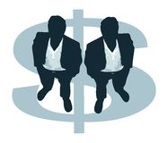 Business Partnership. Two businessman stepping on dollar sign illustration Royalty Free Stock Photos