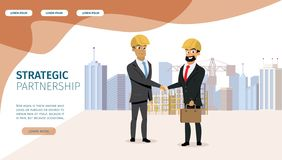 Business Partnership Cartoon Vector Landing Page. Strategic Partnership Flat Vector Web Banner, Website Design Template with Two Smiling Businessman in Safety vector illustration