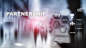 Business partnership concept. Successful deal after great meeting. Multiple exposure, mixed media. royalty free stock images