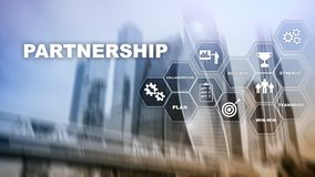 Business partnership concept. Successful deal after great meeting. Multiple exposure, mixed media royalty free stock images