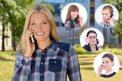 Business partnership concept - woman calling by phone in autumn Stock Photos